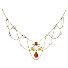 Art Nouveau Citrine Baroque Pearl 14 Karat Gold Swag Necklace