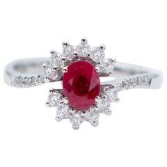 Rubies, White Diamonds, 18 Karat White Gold Engagement Ring