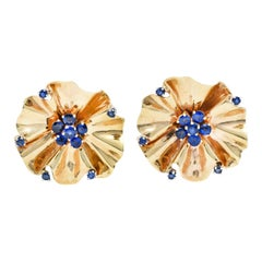 Cartier Retro 1.95 Carats Sapphire 14 Karat Gold Flower Earrings