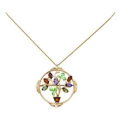 1930's Krementz Enamel Multi-Gem 14 Karat Gold Bouquet Pendant Brooch Necklace