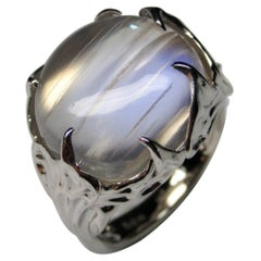 Moonstone White Gold Ring Clear Adularia Natural Burmese Gem Cocktail Ring