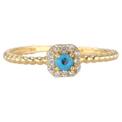 14K Gold Eye Ring with Pave Setting