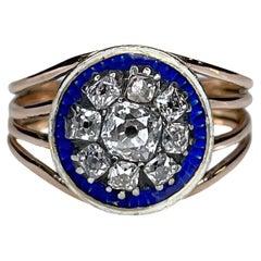 Antique Georgian Round Blue Enamel Old Cut Diamond 9K Yellow Gold Ring