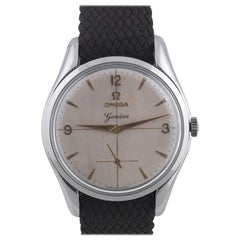 Omega Stainless Steel Geneve Silvered Dial Arab Numbers Wristwatch