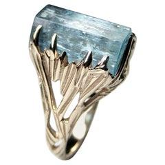 Aquamarine Crystal Gold Ring Blue Beryl Water Nymph Raw Natural Russian Gemstone