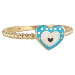 14K Gold Dainty Heart Enamel Ring