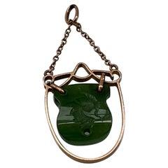 9ct Gold Antique Jade Intaglio Pendant