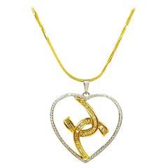 Diamond Necklace Yellow and White 18 Karat Gold