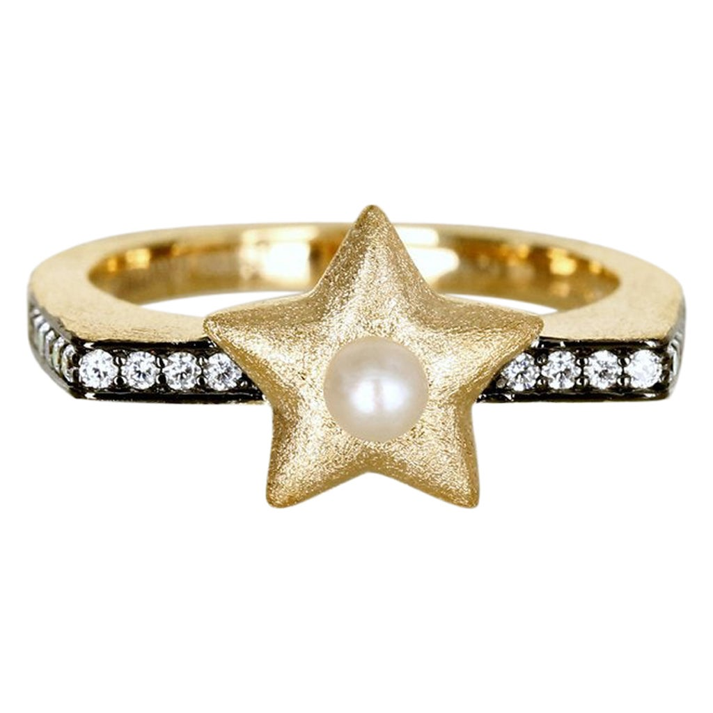 Ammanii 18k Gold Vermeil Freshwater Pearl and Star Ring with Cubic Zirconia