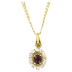 Vintage 1.37 Ct Ruby & 0.60 Ct Diamond 18kt Gold Pendant