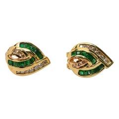 Emerald Diamond 14K Yellow Gold Knot Earrings
