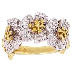 Stambolian 18K Gold Yellow White Diamond Floral Motif Three Flower Ring