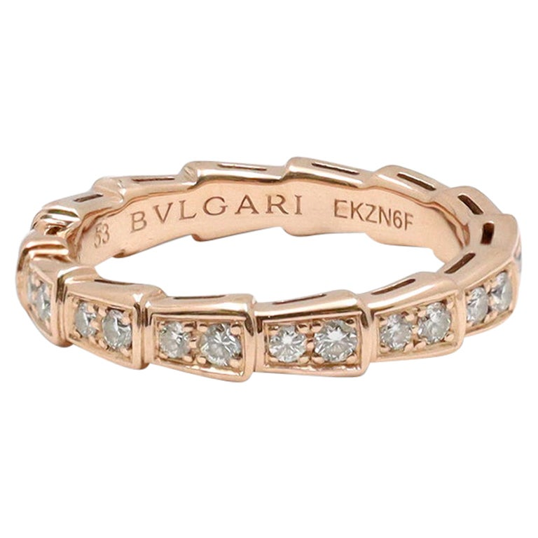 Bvlgari Serpenti Viper Rose Gold and Diamond Pavé Ring