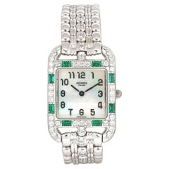 Hermès Cape Cod Diamond, Emerald, Mother-of-Pearl White Gold Watch
