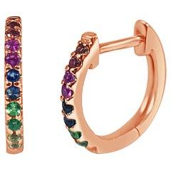 14k Rose Gold 0.18 Carat Rainbow Sapphire Huggie Earrings