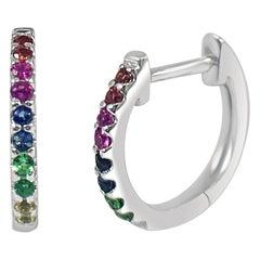 14k White Gold 0.18 Carat Rainbow Sapphire Huggie Earrings