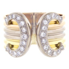 Cartier Double C Diamond Trinity Gold Band Ring