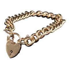Antique Victorian 9K Yellow Gold Heart Locket Solid Gold Bracelet