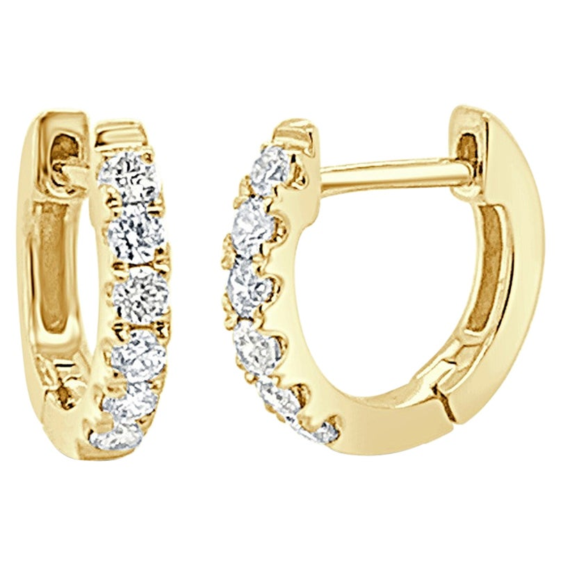 14 Karat Yellow Gold 0.18 Carat Diamond Huggie Hoop Earring