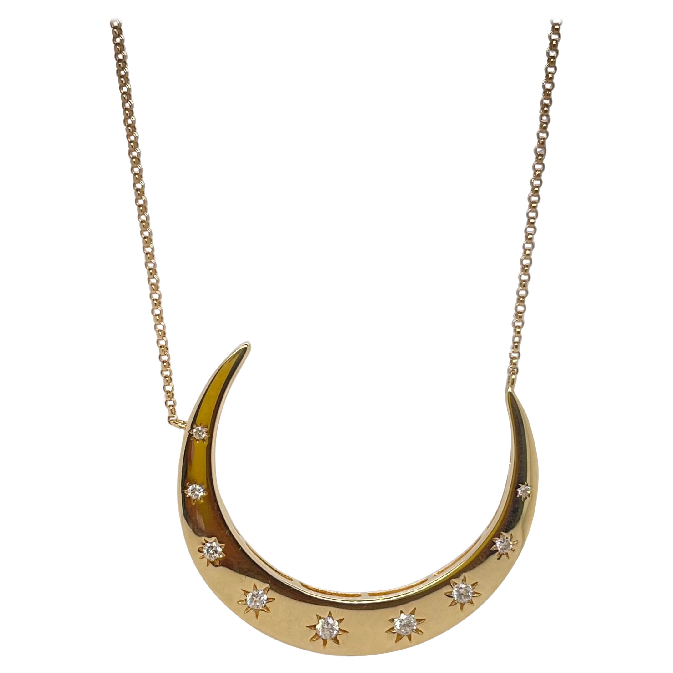 14kt Yellow Gold Diamond Crescent Necklace