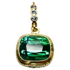 18K Diamond and Cushion Cut Tourmaline Pendant