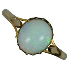 Edwardian Natural Opal and 18ct Yellow Gold Solitaire Ring