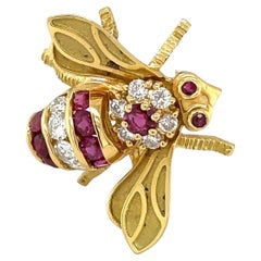 18KT Yellow Gold Bee Brooch with Ruby 0.80Ct. & Diamond 0.49Ct