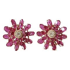 Set in 18K Gold, Ruby & Diamonds Art Deco Style Stud Earrings