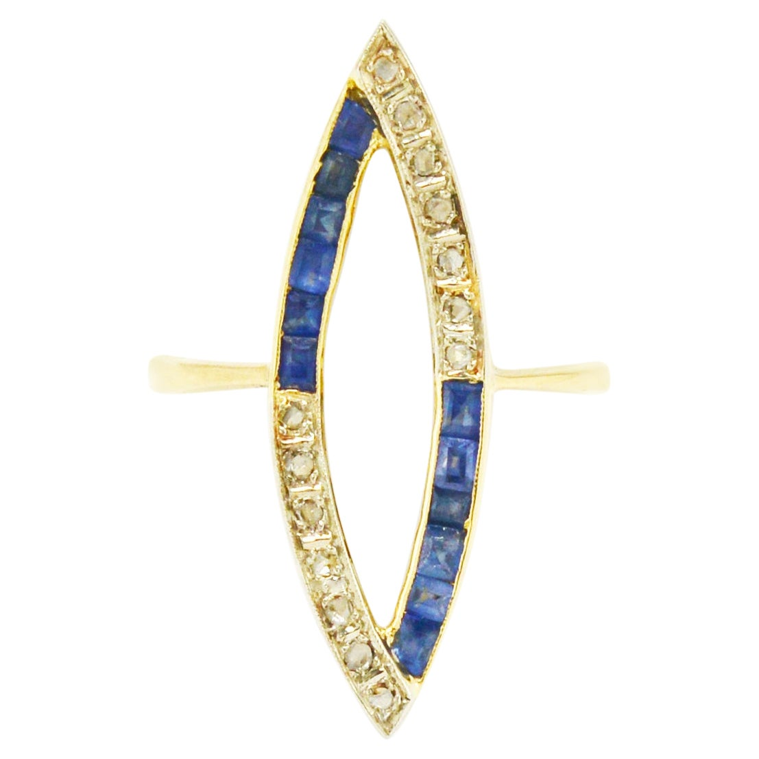 Art Deco Sapphire Diamond Cocktail Ring Long Navette 2 Tone 18k Platinum Open