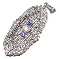 Antique Art Deco Platinum Old European Diamond Sapphire Filigree Pendant