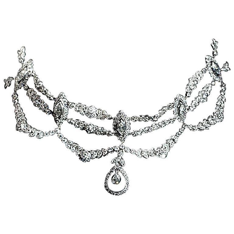 1960s Diamond Platinum Choker Necklace 1