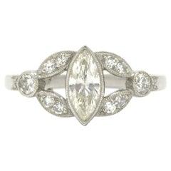 Marquise Diamond Art Deco Engagement Ring Platinum 3/4 Carat Scalloped Milgrain