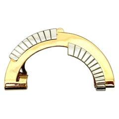 René Boivin Art Deco Two-Tone Gold Clip W/Certificate