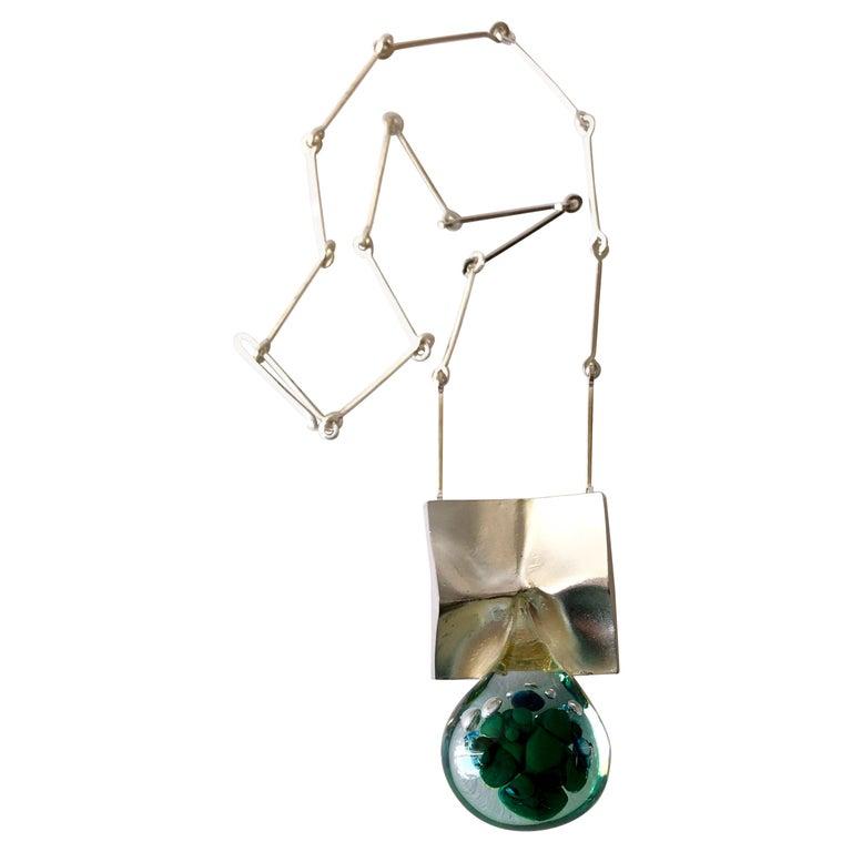 1972 Bjorn Weckstrom Lapponia Finland Sterling Silver Acrylic Big Drop Necklace For Sale