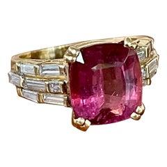 Modern Cushion Cut Pink Tourmaline and Diamond 18 Karat Yellow Gold Ring