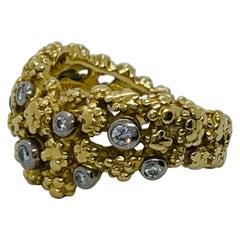 Vintage Gilbert Albert 18 Karat Yellow Gold Diamond Ring