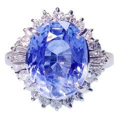 6.82 Ct Vivid Blue Sapphire and Diamond Ring in 18k Pt900 Platinum