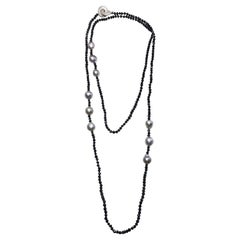 Black Spinel and Grey Baroque Pearl Necklace