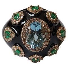 Set in 18K Gold, Aquamarine,Emerald & Black Enamel Art-Deco Style Cocktail Ring
