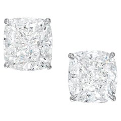 GIA Certified 6.04 Carat Cushion Cut Diamond Platinum Studs
