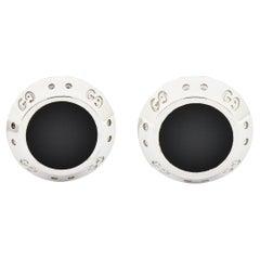 Gucci Icon Onyx 18 Karat White Gold Men's Cufflinks