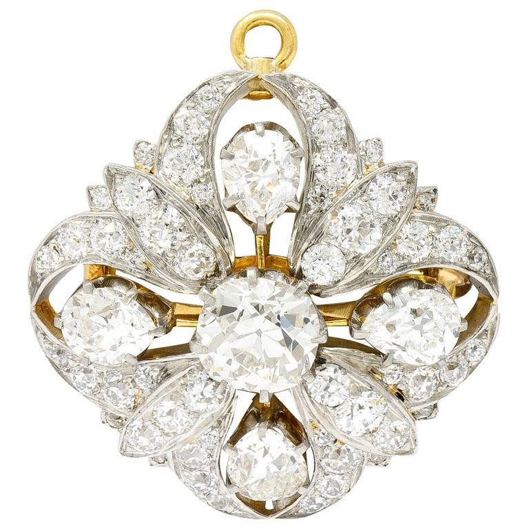 Tiffany & Co. 6.05 Carats Diamond Platinum 18 Karat Gold Quatrefoil Brooch For Sale