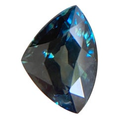 Deep Green Blue Sapphire 1.24ct Trillion Triangle Cut Loose Gemstone