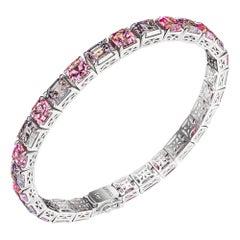 Pink & Grey Spinels Bracelet, 18k White Gold Pink & Grey Spinels Bracelet
