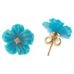 18 Karat Gold Turquoise Diamond Flower Handmade Italian Girl Stud Blue Earrings