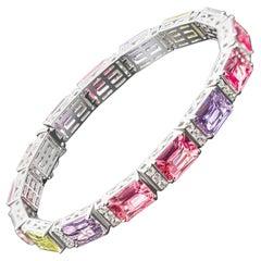 Multi Color Spinels&Sapphires Bracelet, 18k White Gold & Multi Color Spinel