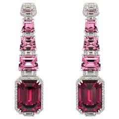 Rhodolite Garnet & Pink Spinels Earrings, 18k White Gold Diamonds Earrings
