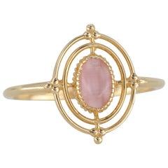 14K Gold Vintage Style Oval Cut Pink Quartz Ring