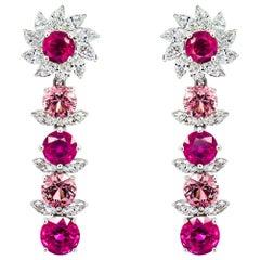 Rubies Spinels & Diamonds Earrings, 18k White Gold Unheated Rubies & Spinels Er