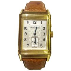 Jaeger-LeCoultre Yellow Gold Reverso Duo Face Day Night Manual Wind Wristwatch
